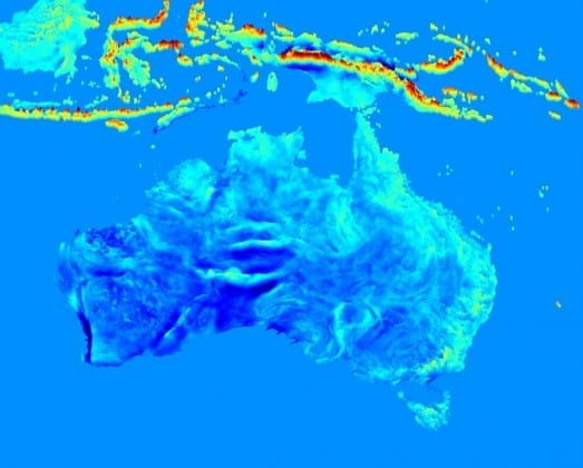 Extract of the new high-resolution gravity map over Australia and South-East Asia. The map tells us about the anomalies in gravity, with red indicating strongly positive anomalies and blue negative anomalies.
