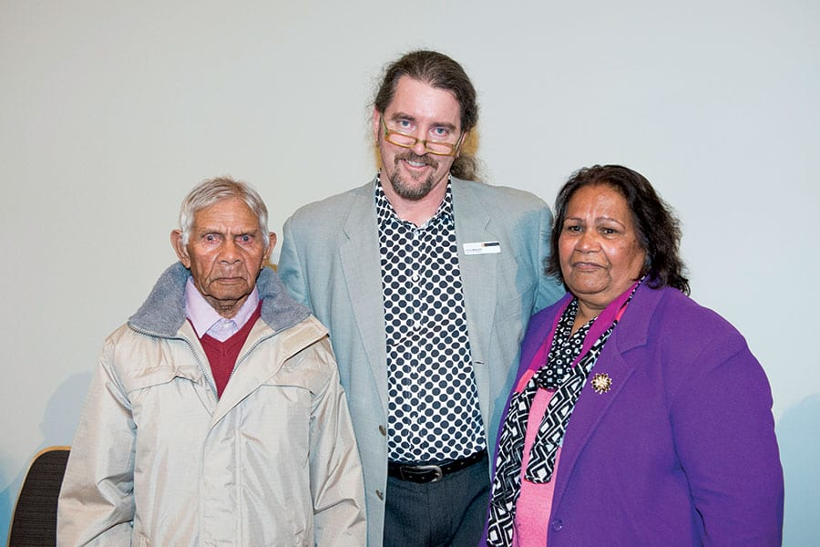 Top right (from left): Noongar Elder Angus Wallam; John Curtin Gallery Director Chris Malcolm; and Noongar Elder May McGuire, who delivered the Welcome to Country at the exhibition opening.