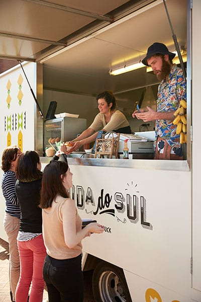 Curtin students being served from a food van