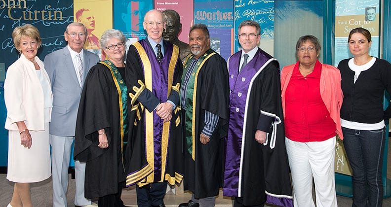 International humanitarian Sian White, Aboriginal Elders Mr Ezzard Flowers and the late Mr Angus Wallam and physiotherapist Dr Kaye Brand, the four recipients of the 2015 John Curtin Medal
