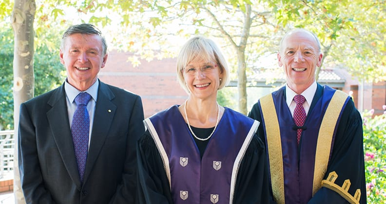 L-R: His Excellency Mr Malcolm McCusker AC CVO QC, Governor of Western Australia, Professor Deborah Terry and Mr Colin Beckett, Chancellor of Curtin University