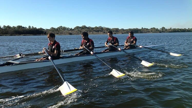 Clontarf students participating in the rowing regatta
