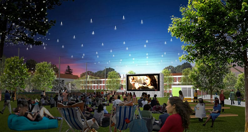 An artist's impressions of the Curtin Outdoor Community Cinema