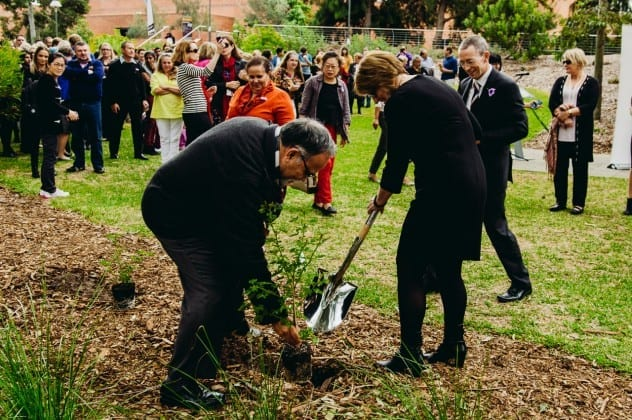 Deputy Vice-Chancellor of Education Jill Downie tree planting