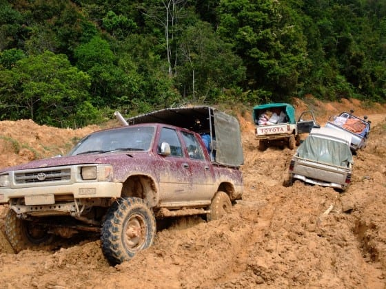 Logging roads in northern Sarawak, which are not always in good condition. Photo credit: Sidney Wee.