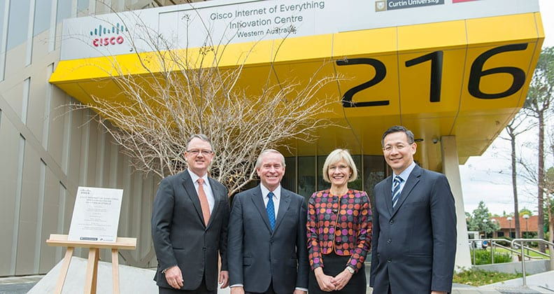 Woodside CEO Peter Coleman, WA Premier the Hon. Colin Barnett, Curtin Vice Chancellor Professor Deborah Terry and Senior Vice President of Cisco Asia Pacific, Mr Irving Tan at the CIIC launch.