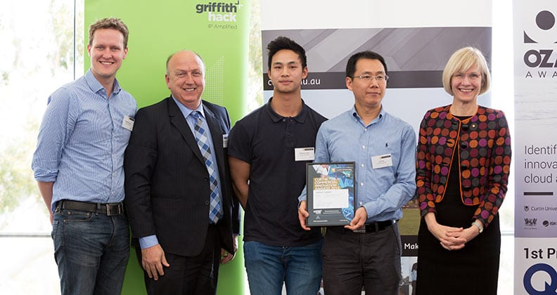 Mechatronics engineering lecturer and researcher Dr Lei Cui, mechatronics engineering student Anthony Phan, Dean Research and Graduate Studies Health Sciences Professor Garry Allison, occupational therapy clinical/professional fellow David Parsons and Vice Chancellor Professor Deborah Terry