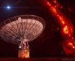 -- CSIRO's Parkes radio telescope, which detected FRB150418, superimposed on an image showing the distribution of gas in our Milky Way galaxy. An artist's impression of a single fast radio burst is shown above the dish.   Credit: Swinburne Astronomy Productions