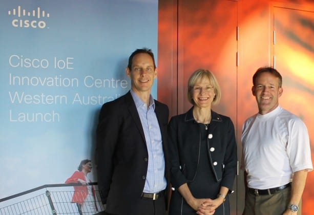 CIIC partners (L-R): Woodside Senior Vice President, Strategy, Science and Technology, Shaun Gregory; Curtin University Vice-Chancellor, Professor Deborah Terry; and Cisco Senior Vice President and Chief Security and Trust Officer, John Stewart, at the Cisco Internet of Everything Innovation Centre.