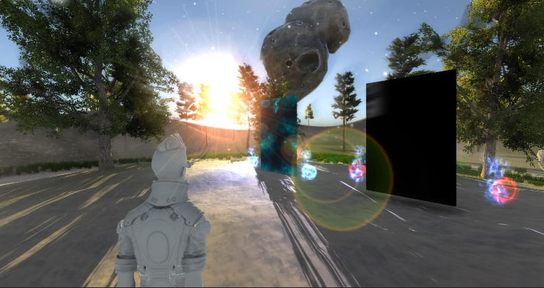 A screen shot of a virtual environment designed by Curtin VisMedia students.