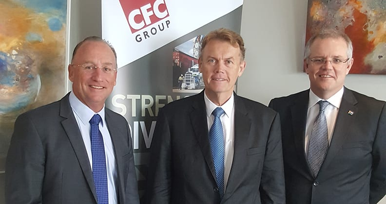Since graduating from the Western Australian School of Mines in 1978, Peter Bradford has enjoyed a successful career in mining. Here he is (centre), with Steve Irons, Federal Member for Swan (left), and the Hon. Scott Morrison, Federal Treasurer (right).