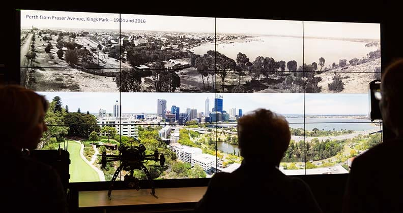 The historical panoramas on the HIVE Tiled display with a silhouette of the actual drone used on the project.
