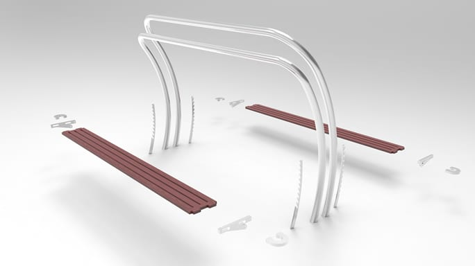 Bench design exploded view