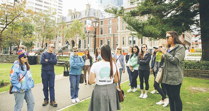 Chapman talks to her walking tour group in the Stirling Gardens, Perth.