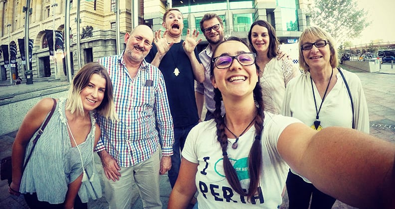 Selfie photo taken by Chapman with her walking tour group.