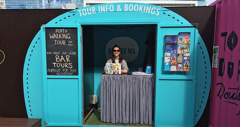 Oh Hey WA's new info and bookings booth located at Yagan Square.
