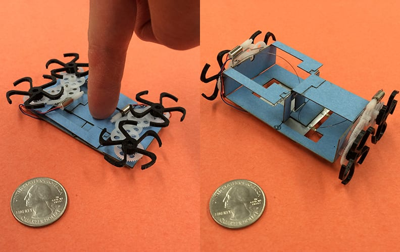 Pictures showing the pop-up functionality of the robot.
