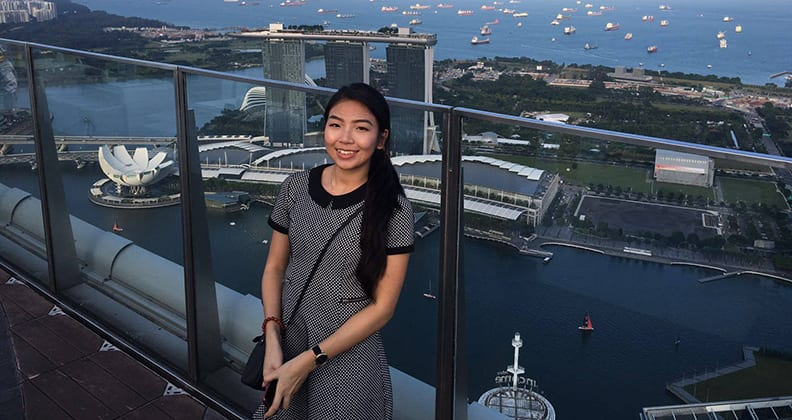 Curtin secondary education student Leanne Duong in Singapore.