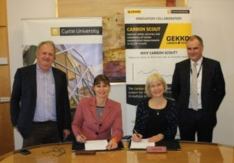 Curtin and Gekko executives signing the Carbon Scout licensing agreement.