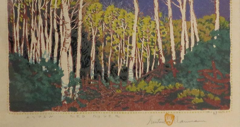 "Gustave Baumann's print of ""Aspen Red River."""