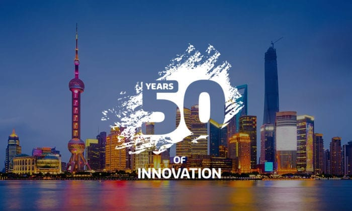 Shanghai city with 50 years of innovation logo overlay