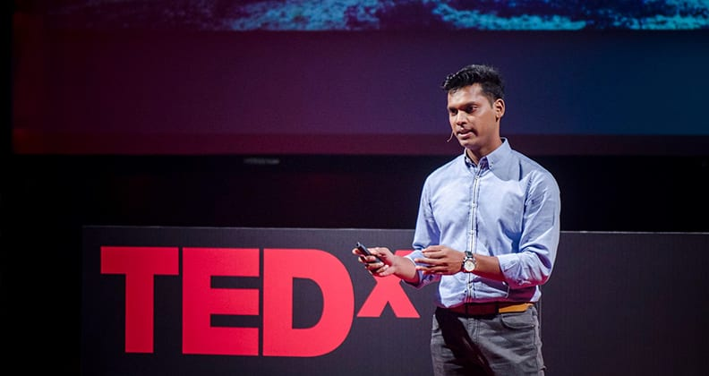 """Zaheer Allam during his 2016 talk, """"Down to Earth: Building Sustainably"""", at TEDx PlainesWilhems in Mauritius (photo credit: Ali Soliman)."""