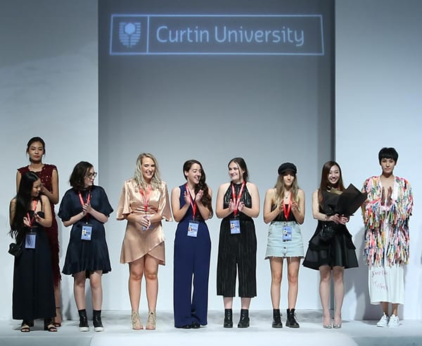 Curtin students lined up after their designs were presented at China Graduate Fashion Week.