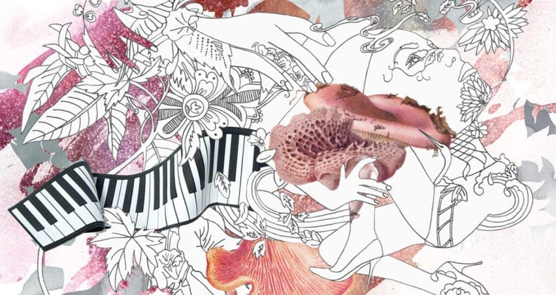 Whimsical water colour illustration featuring flowers, piano keys and high-heeled legs.