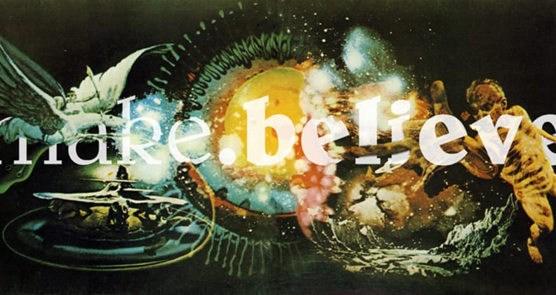 Fantastical type concept of the words 'make believe' featuring Pegasus and cherubs.
