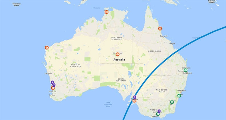Map of OSIRIS-REx's flight path over Australia.