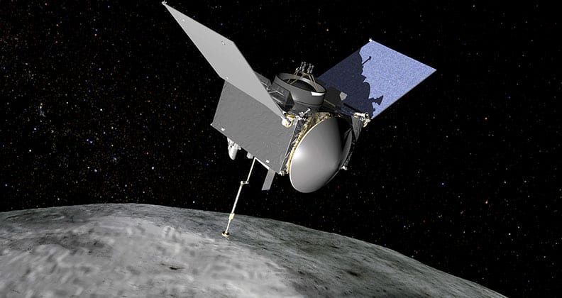 Concept image of OSIRIS-REx orbiting Bennu.