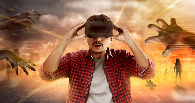 Man with a virtual reality headset and concept images in background.