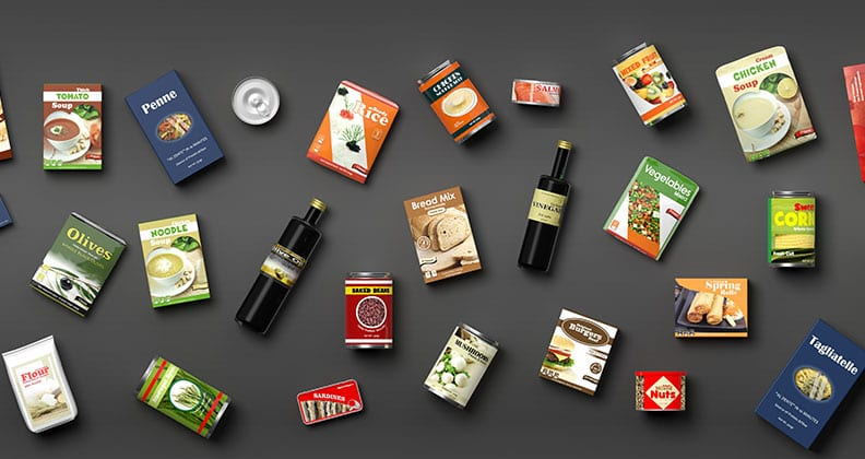 different food products spread on a grey background