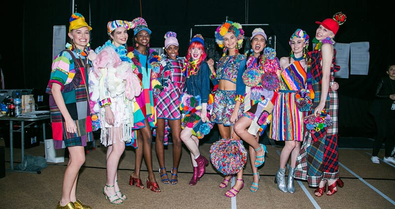 Kate Hannah has fun with her models backstage at the The Perth Fashion Festival.