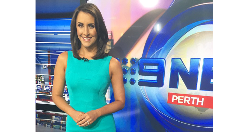 News reporter Rebecca Johns standing in front of Channel Nine sign
