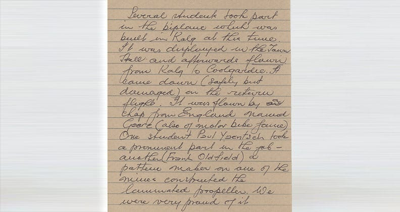 Letter written by one of the then-teachers at the Kalgoorlie School of Mines