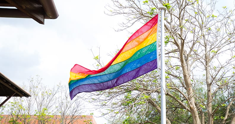 Pride rainbow flag flying on the Curtin University Bentley Campus