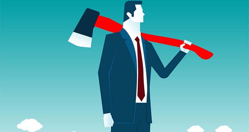 Vector image of businessman carrying an axe.