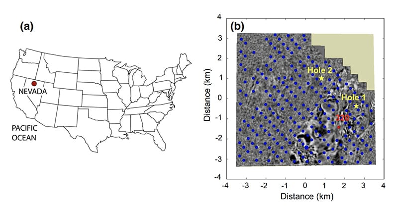 Map showing the approximate survey location in the USA, with a 3D migrated seismic image that shows the location of each MT station (the blue points), the specific location of Station 320 (used to collect the comparative MT data above) and two significant boreholes. (Reproduced from the team's research paper.)