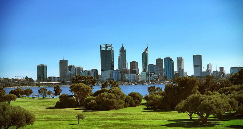 Perth city skyline taken from south perth during the day.