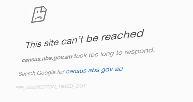 Australian Census website crash error message