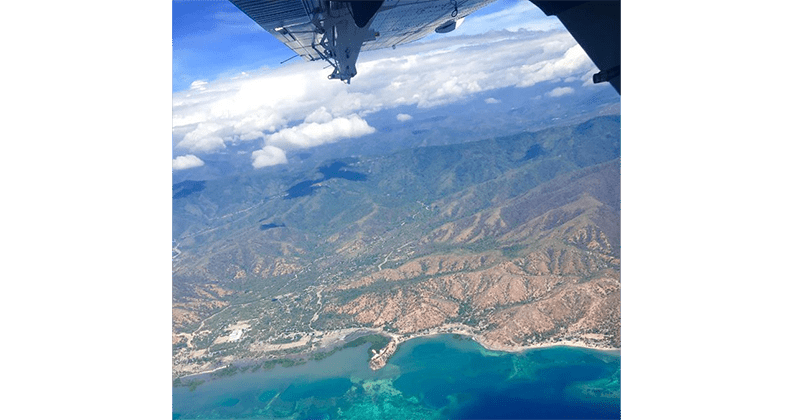 Aerial photo of landscape during flight from Dili to Oecusse.