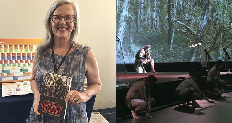 Split image: Professor Anna Haebich during Perth Festival Writers Week 2018 (left) and the Welcome to Country ceremony performed during Curtin University's 50 Years of Innovation Gala Dinner (right).