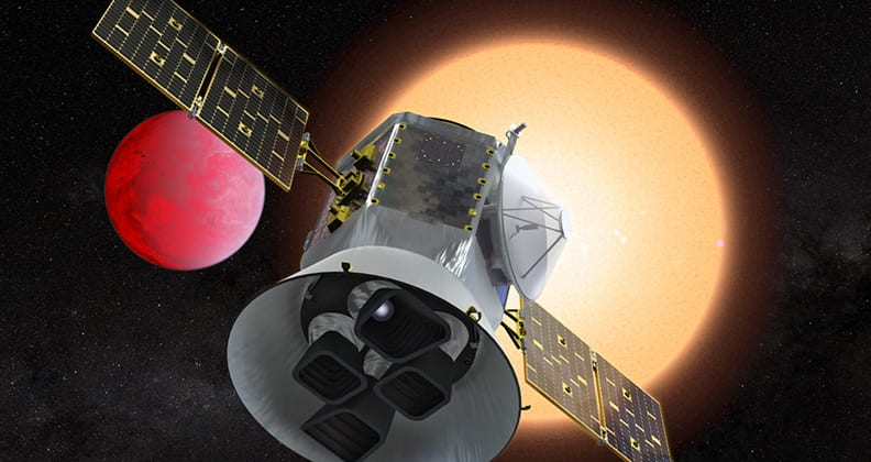 Impression of TESS satellite in space.