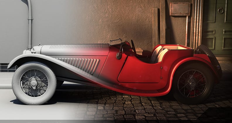 A digital car textured by Andrew Joseph.