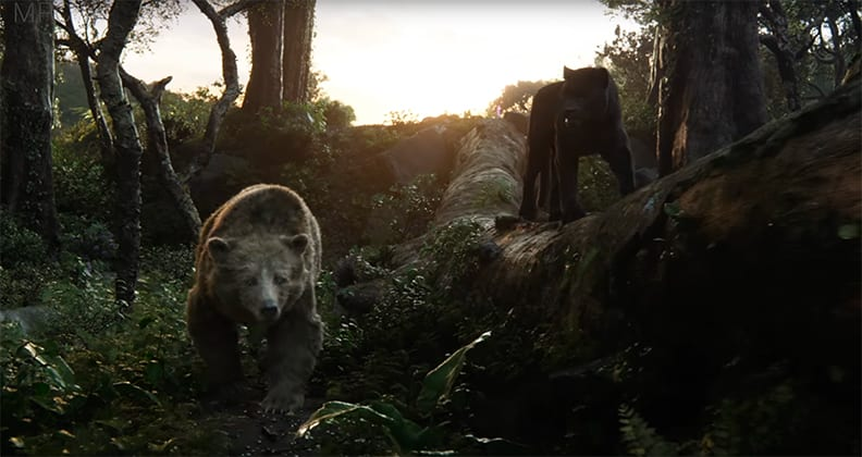 Baloo and Bagheera in a scene from The Jungle Book