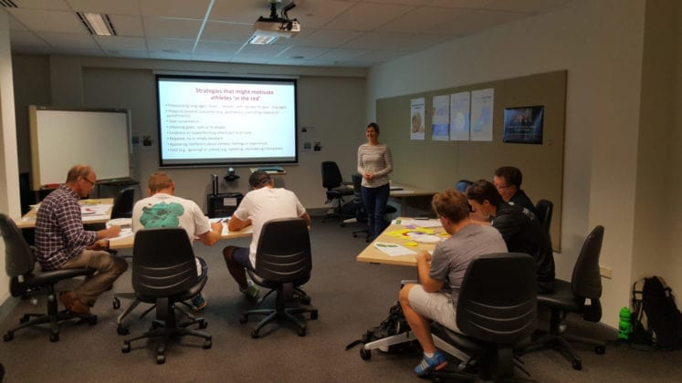 Dr Eleanor Quested delivering training to coaches.