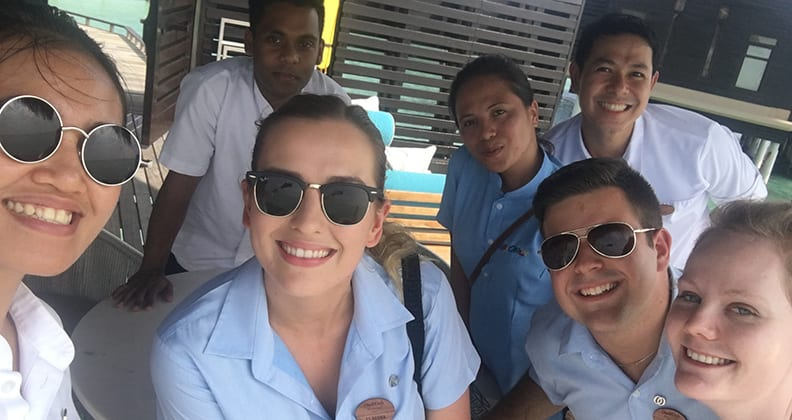 Claudia Foster and her fellow recruits experience the guest water villas of One&Only resort. Credit: Claudia Foster.