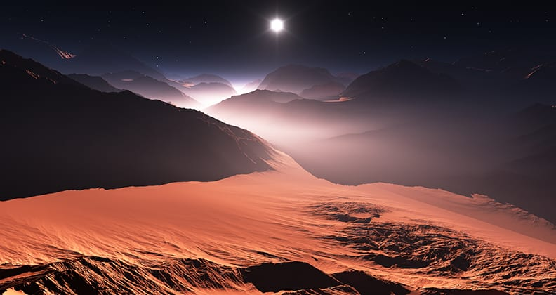 A sun sets over the red dusty surface of Mars (artist impression).