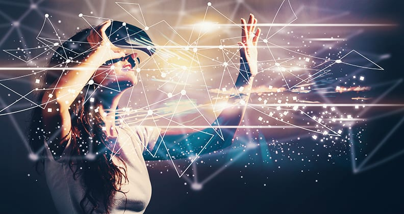 A young woman wearing a VR headset with conceptual data in foreground.